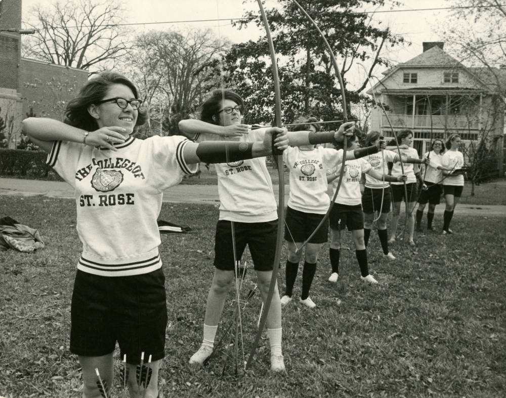 Students practicing archery 1967